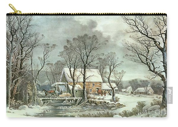 Winter In The Country - The Old Grist Mill Carry-all Pouch