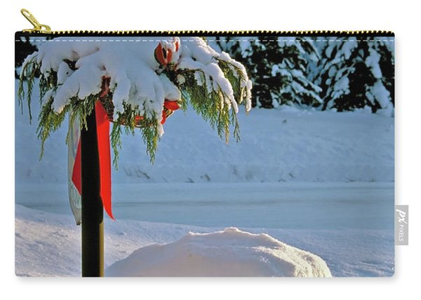 Winter Lamp Post In The Snow With Christmas Bough Carry-all Pouch