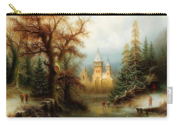 Winter Landscape With Ice Skaters By A Castle Carry-all Pouch
