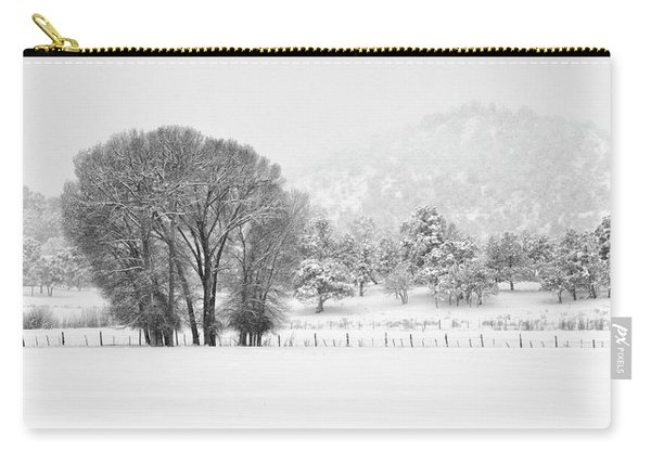 Winter Pasture In Black And White Carry-all Pouch