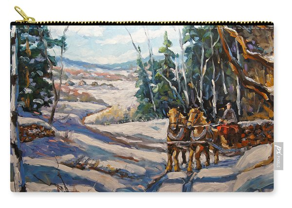 Winter Scene Loggers Horses By Prankearts Carry-all Pouch