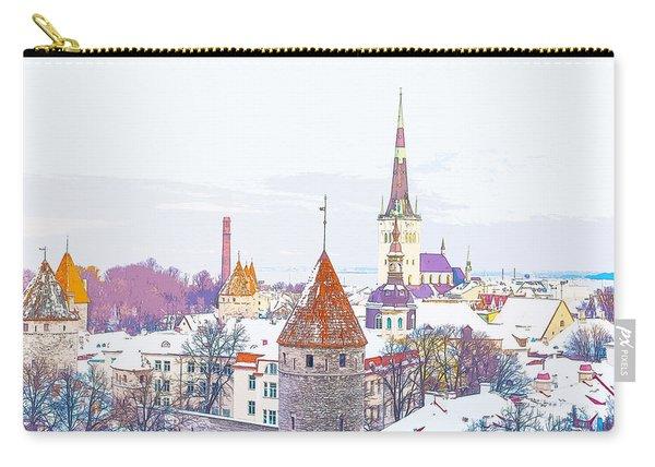 Winter Skyline Of Tallinn Estonia Carry-all Pouch