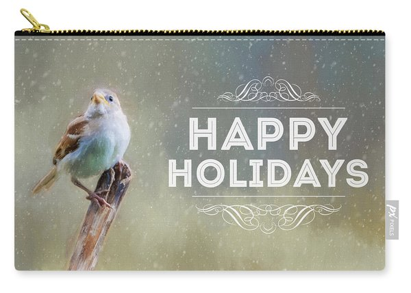 Winter Sparrow Holiday Card Carry-all Pouch