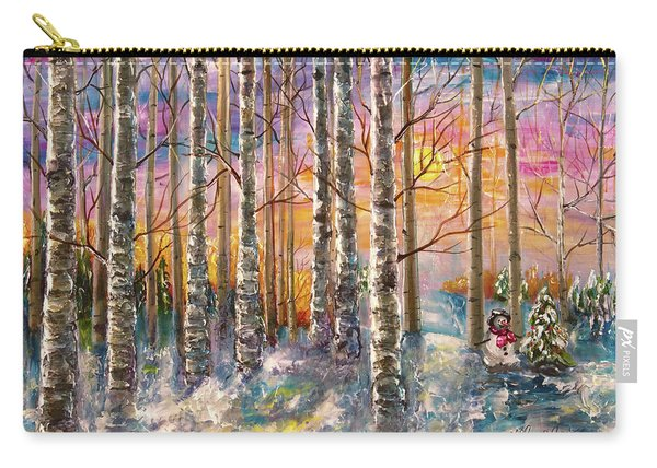 Dylan's Snowman - Winter Sunset Landscape Impressionistic Painting With Palette Knife Carry-all Pouch