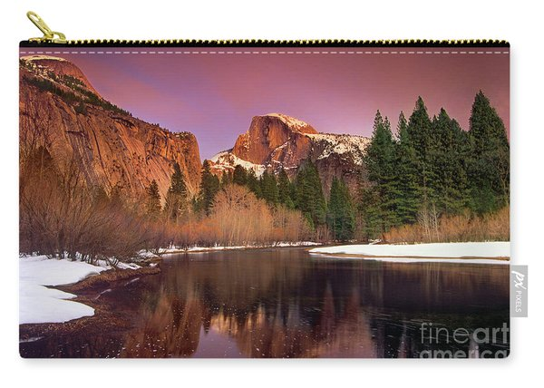 Winter Sunset Lights Up Half Dome Yosemite National Park Carry-all Pouch