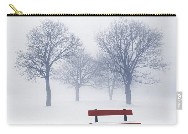 Winter Trees And Bench In Fog Carry-all Pouch