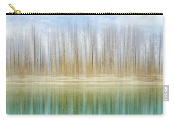 Winter Trees On A River Bank Reflecting Into Water Carry-all Pouch