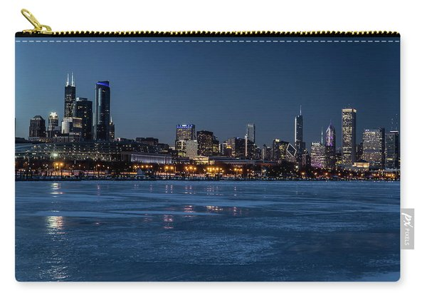 Wintry Chicago Skyline At Dusk  Carry-all Pouch