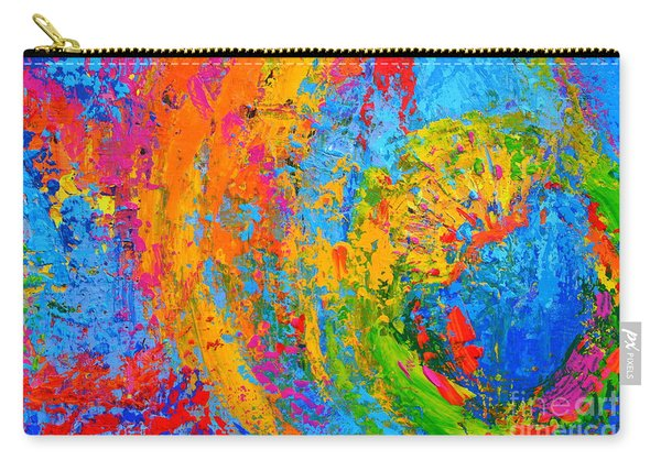 Within Circles 2 - Colorful Modern Abstract  Painting Palette Knife Work Carry-all Pouch