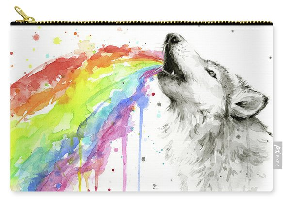 Wolf And Rainbow  Carry-all Pouch