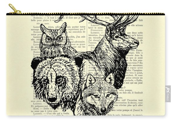 Wolf, Bear, Deer, Owl Wildlife Animals Black And White Carry-all Pouch