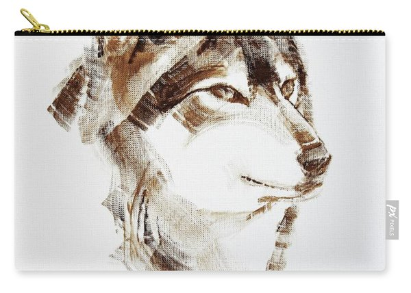 Wolf Head Brush Drawing Carry-all Pouch