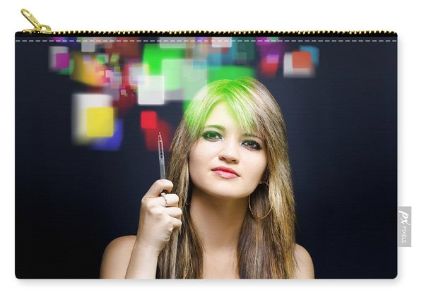 Woman Accessing Digital Media With Touch Screen Carry-all Pouch