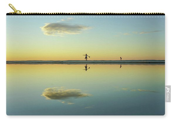 Woman And Cloud Reflected On Beach Lagoon At Sunset Carry-all Pouch
