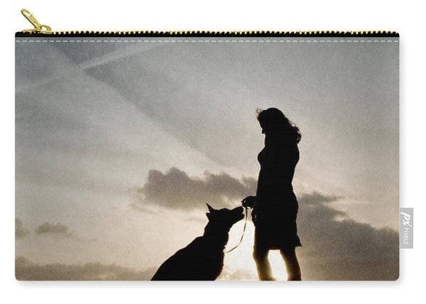 Woman And Dog  Carry-all Pouch
