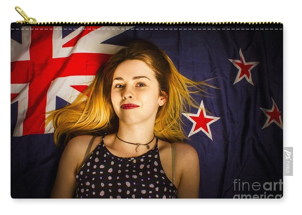 Woman Celebrating On New Zealand Flag Carry-all Pouch