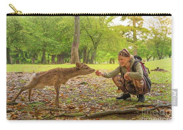 Woman Feeds Nara Deer Carry-all Pouch