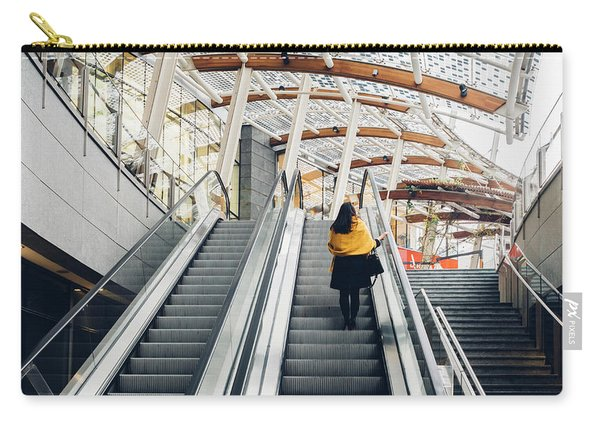 Woman Going Up Escalator In Milan, Italy Carry-all Pouch