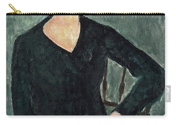 Woman In A Blue Dress Seated Carry-all Pouch