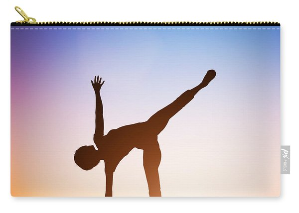 Woman In Half Moon Yoga Pose Meditating At Sunset Carry-all Pouch