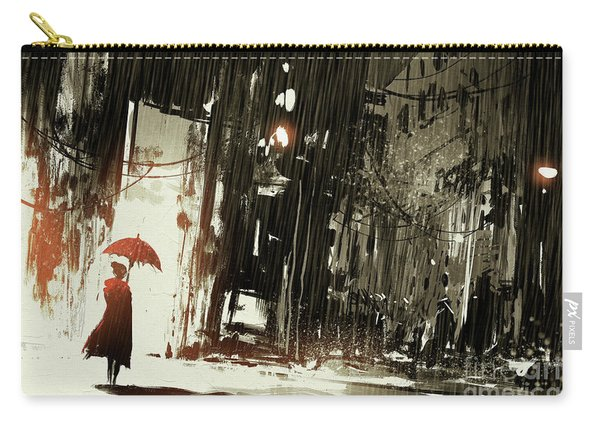 Carry-all Pouch featuring the painting Woman In The Destroyed City by Tithi Luadthong