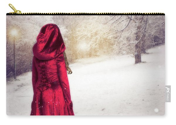 Woman In The Snow Carry-all Pouch