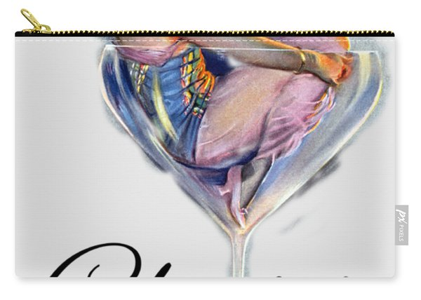 Woman In Wine Glass Carry-all Pouch