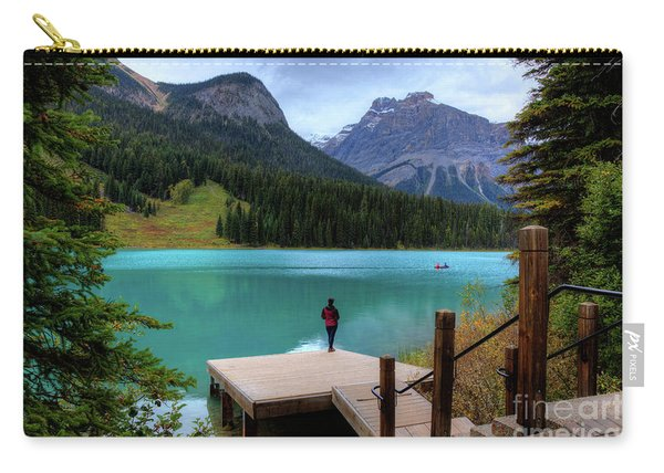 Woman Looking Emerald Lake Yoho National Park British Columbia Canada Carry-all Pouch