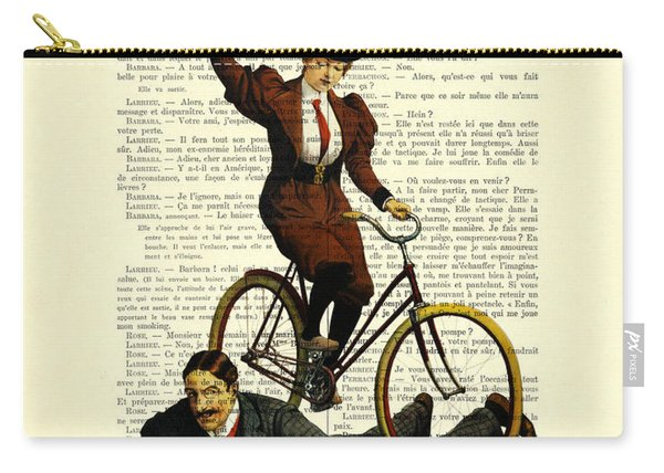 Woman On Bicycle Riding Over Man Carry-all Pouch