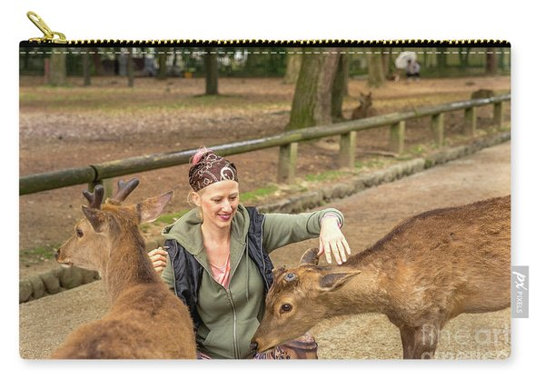 Woman Touches Wild Deer Carry-all Pouch