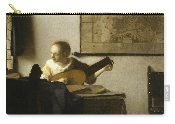 Woman With A Lute Near A Window Carry-all Pouch