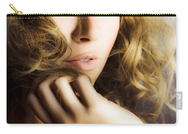 Woman With Beautiful Wavy Hair Carry-all Pouch
