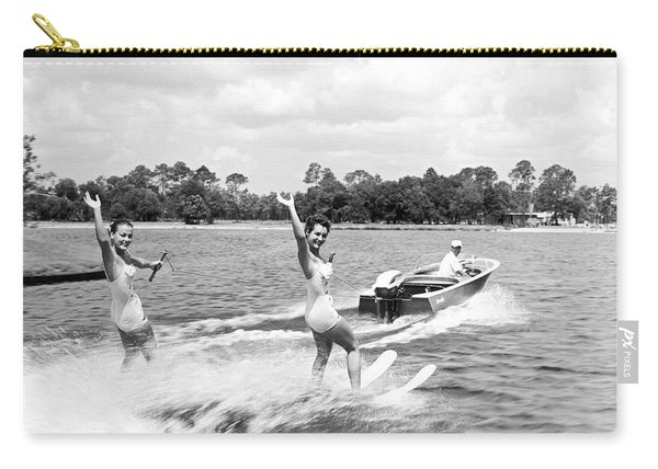 Women Water Skiers Waving Carry-all Pouch