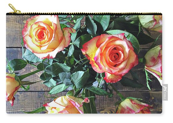 Wood And Roses Carry-all Pouch