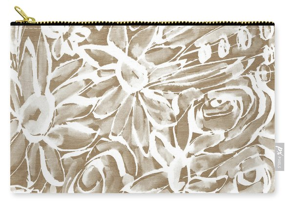 Wood And White Floral- Art By Linda Woods Carry-all Pouch