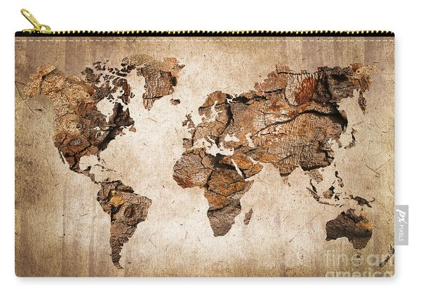 Wood World Map Carry-all Pouch