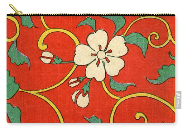 Woodblock Print Of Apple Blossoms Carry-all Pouch