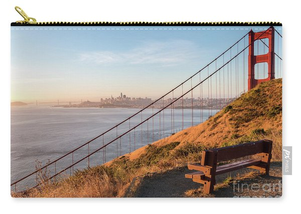Wooden Bench Overlooking Downtown San Francisco With The Golden  Carry-all Pouch