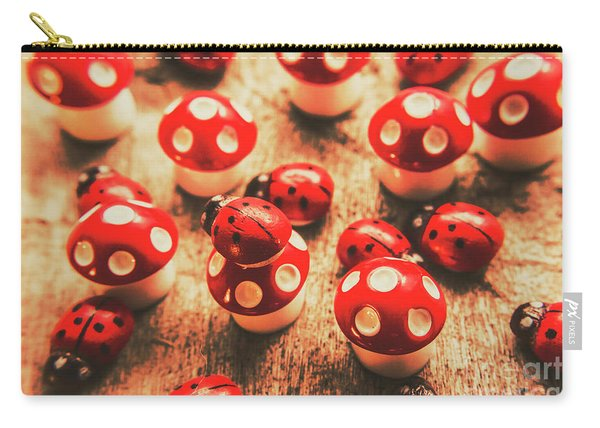 Wooden Bugs And Plastic Toadstools Carry-all Pouch