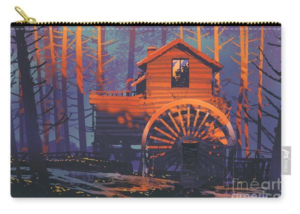 Carry-all Pouch featuring the painting Wooden House by Tithi Luadthong