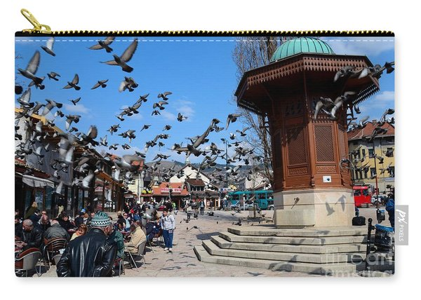 Wooden Ottoman Sebilj Water Fountain In Sarajevo Bascarsija Bosnia Carry-all Pouch