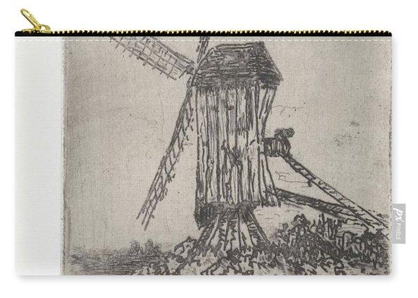 Wooden Windmill In A Landscape, Arnoud Schaepkens, 1855 - 1904 Carry-all Pouch