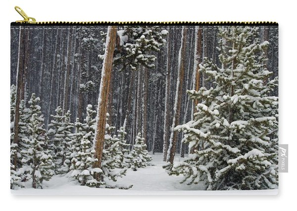 Woodland Snowstorm In Yellowstone Carry-all Pouch