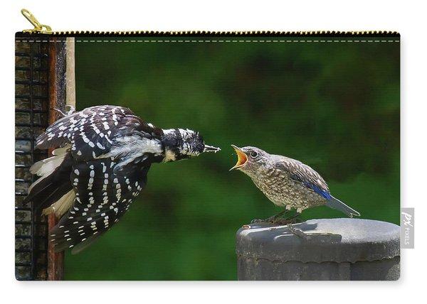 Woodpecker Feeding Bluebird Carry-all Pouch