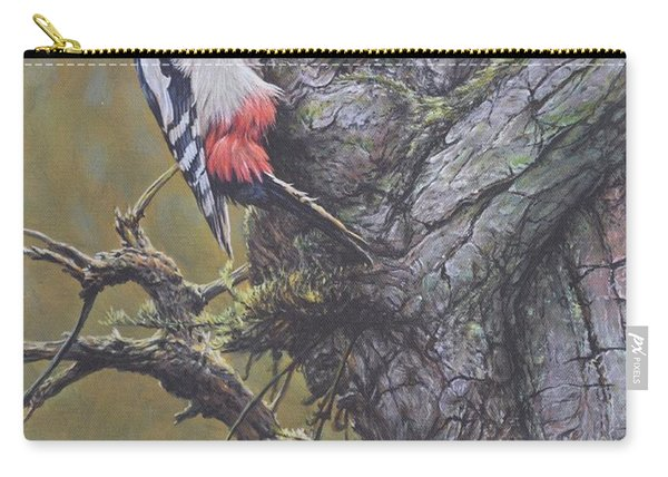 Carry-all Pouch featuring the painting Woodpecker On Tree by Alan M Hunt