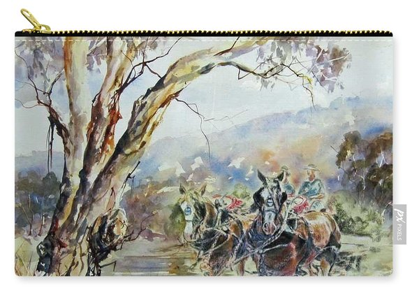 Carry-all Pouch featuring the painting Working Clydesdale Pair, Australian Landscape. by Ryn Shell