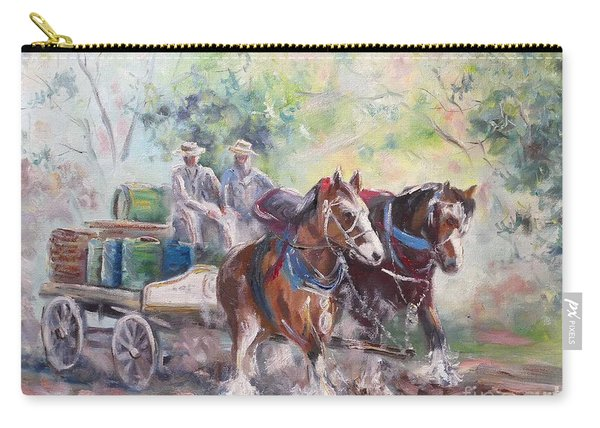 Carry-all Pouch featuring the painting Working Clydesdale Pair, Victoria Breweries. by Ryn Shell