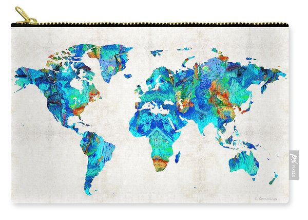 World Map 22 Art By Sharon Cummings Carry-all Pouch