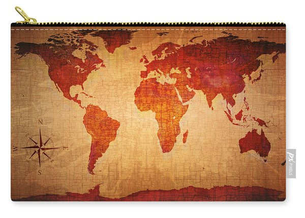 World Map Grunge Style Carry-all Pouch