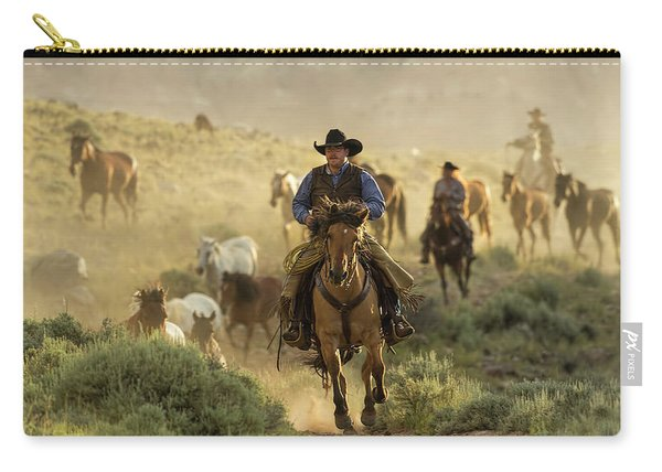 Wrangling The Horses At Sunrise  Carry-all Pouch